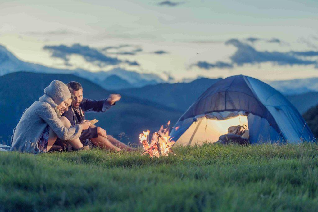 camping dans la montagne